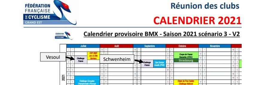 Calendrier BMX Grand Est 2021